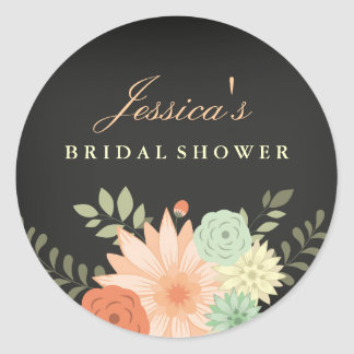 Chalkboard Spring Foliage Bridal Shower Sticker