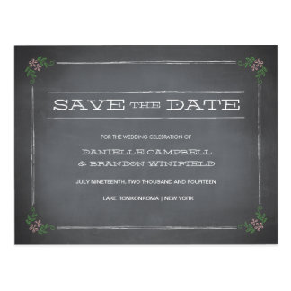 Chalkboard Stencil Pink Save the Date Postcard