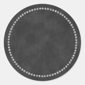 Chalkboard Sticker with Silver Ring Trim Monogram