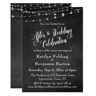 Chalkboard String Lights After Wedding Celebration Card