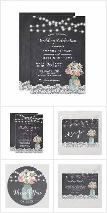 Chalkboard String Lights Mason Jar Floral Suite