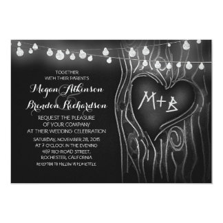 "chalkboard string lights tree romantic wedding 5"" x 7"" invitation card"
