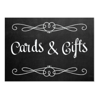 """Chalkboard Style """"Cards and gifts"""" Wedding Sign Card"""