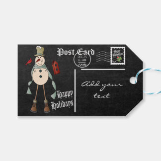 Chalkboard Styled Snowman Postcard | Christmas Pack Of Gift Tags