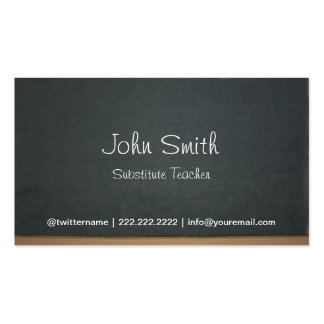 Chalkboard Substitute Teacher Simple Pack Of Standard Business Cards