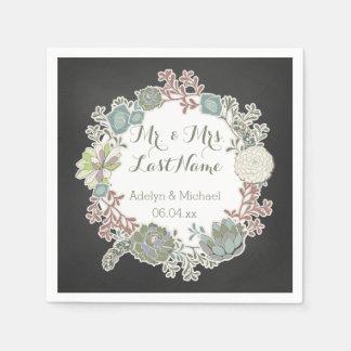 Chalkboard Succulent Wreath Wedding Paper Napkins