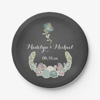 Chalkboard Succulents Custom Wedding Paper Plates 7 Inch Paper Plate