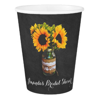 Chalkboard Sunflower Jar Bridal Shower Party Cups Paper Cup