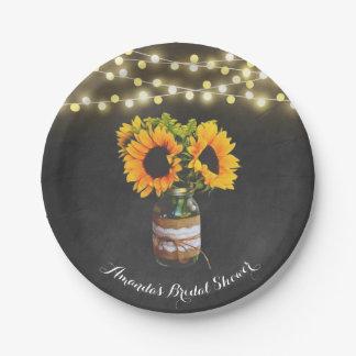 Chalkboard Sunflower Mason Jar Bridal Shower 7 Inch Paper Plate