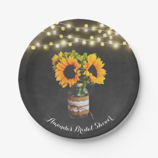 Chalkboard Sunflower Mason Jar Bridal Shower Paper Plate