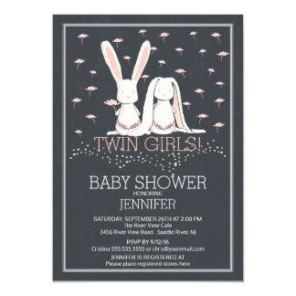 "Chalkboard Sweet TWIN Girls Bunny Baby Shower 5"" X 7"" Invitation Card"