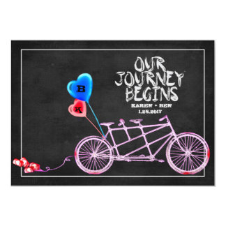 Chalkboard Tandem Bicycle Wedding Card