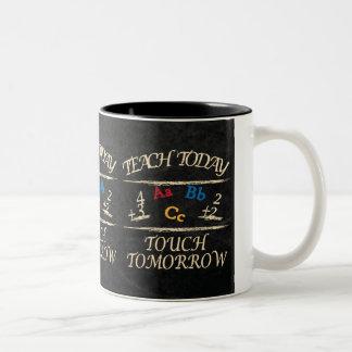 Chalkboard Teach Today Touch Tomorrow | Teacher Two-Tone Coffee Mug