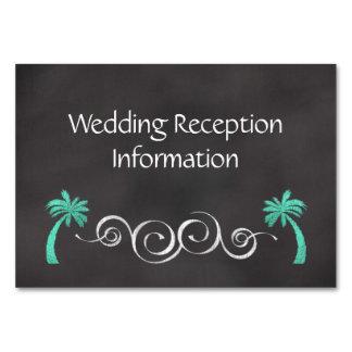 Chalkboard Teal Beach Wedding Reception Insert Table Card