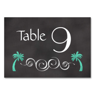 Chalkboard Teal Beach Wedding Table Number