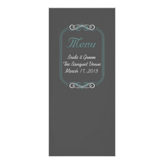 Chalkboard Teal Menu Card