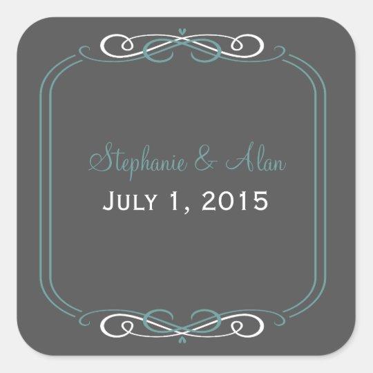 Chalkboard Teal Wedding Stickers