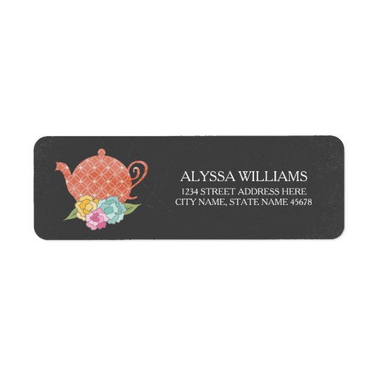 Chalkboard Teapot Return Address Label