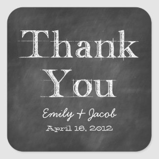 Chalkboard Thank You Favor Tags Square Sticker