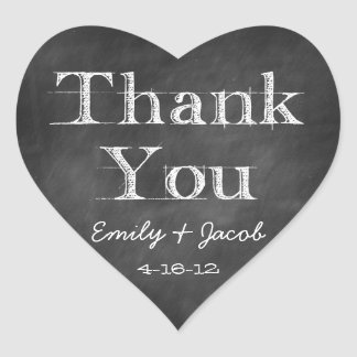 Chalkboard Thank You Heart Favor Tags Heart Sticker