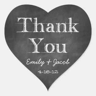 Chalkboard Thank You Heart Favor Tags Heart Sticker