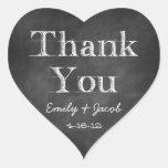 Chalkboard Thank You Heart Favour Tags Heart Sticker