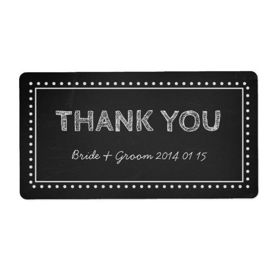 Chalkboard Thank You Wedding Labels