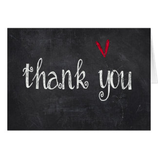 chalkboard thank you with red heart card