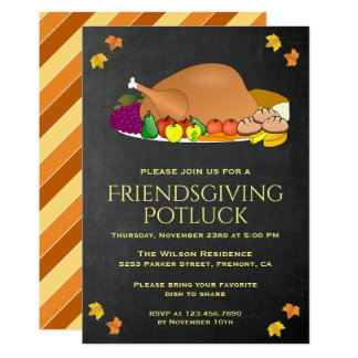 Chalkboard Thanksgiving Potluck Party Invitation