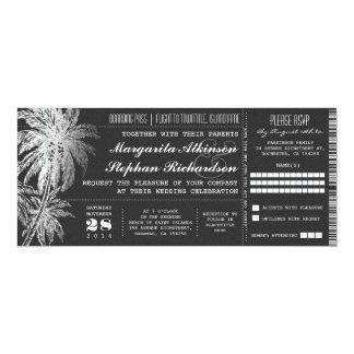 Chalkboard ticket destination wedding invitations