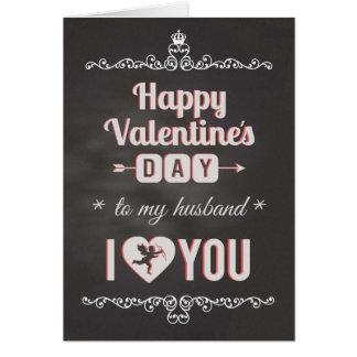 Chalkboard - To Husband, I Heart You Valentine Card