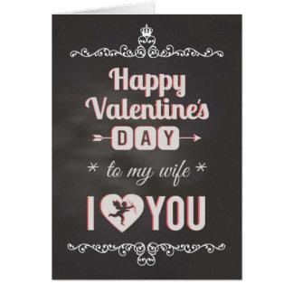 Chalkboard - To Wife, I Heart You Valentine Card