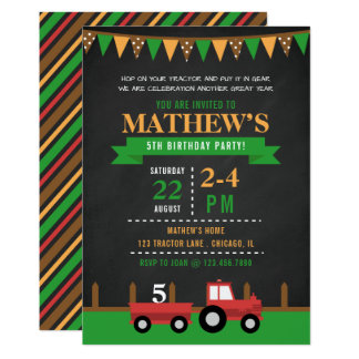 Chalkboard Tractor/Farm Birthday Party Card
