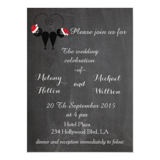 "Chalkboard trendy funny Santa cat couple wedding 5.5"" X 7.5"" Invitation Card"