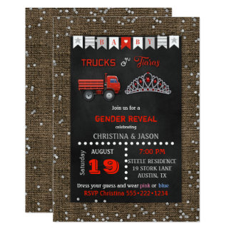 Chalkboard Trucks or Tiaras Red Gray Gender Reveal Card