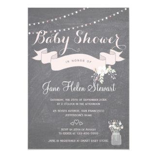 Chalkboard twinkle lights ribbon baby shower card