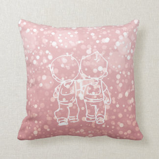 Chalkboard Two Boys Walking Doodles Pink Rose Gold Throw Pillow