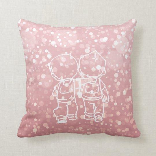 Chalkboard Two Boys Walking Doodles Pink Rose Gold Throw Pillow