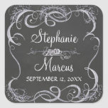 Chalkboard Typographic Leaf Swirl Rustic Wedding Square Stickers