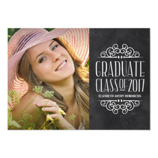 Chalkboard Typography 2017 Photo Graduation Party Card