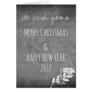 Chalkboard Typography Black White Christmas Card