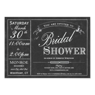 Chalkboard Typography Bridal Shower Invitation