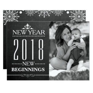 Chalkboard Typography | New Year 2018 Family Photo Card