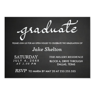 Chalkboard Typography Open House Graduation Card