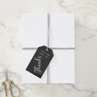 Chalkboard Typography Thanks Personalized Gift Tags