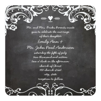 Chalkboard Typography Weddings Card