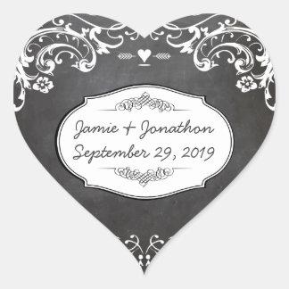 Chalkboard Typography Weddings Heart Sticker