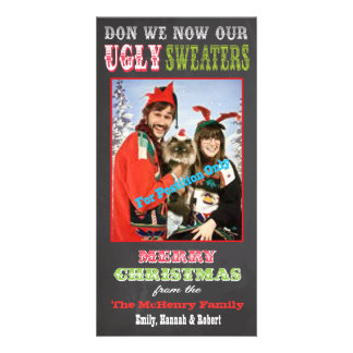 Chalkboard Ugly Christmas Sweater Photo Card