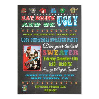 Chalkboard Ugly Christmas Sweater Photo Invitation