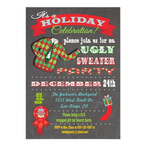 Ugly Christmas Sweater Invites for amazing invitations template